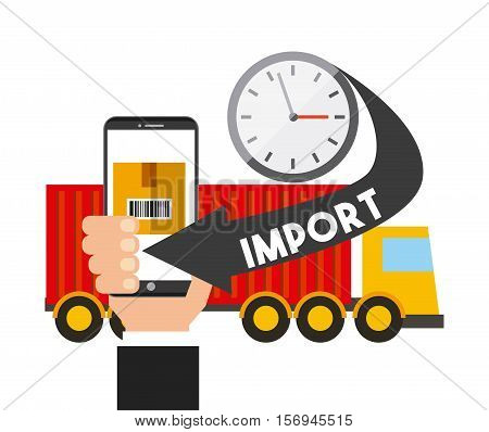 cargo truck and smartphone device with logistic import icons. export and import colorful design. vector illustration