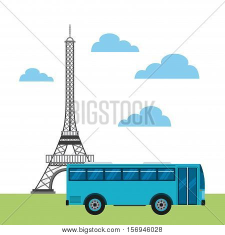 bus vehicle and eiffel tower icon. colorful design. vector illustration
