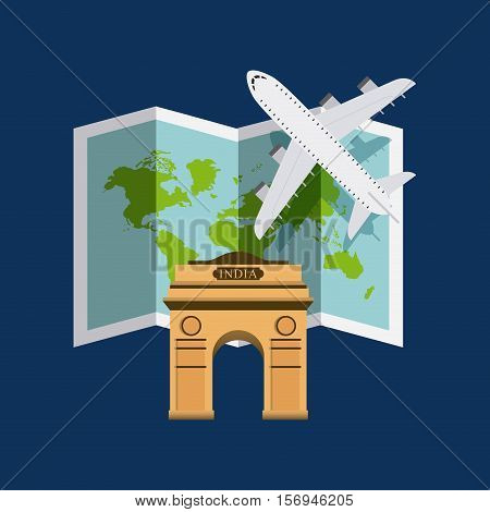 world map and airplane with iconic building of india over blue background. vector illustration
