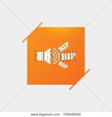 Speaker volume icon. Sound with BIP symbol. Loud signal. Orange square label on pattern. Vector