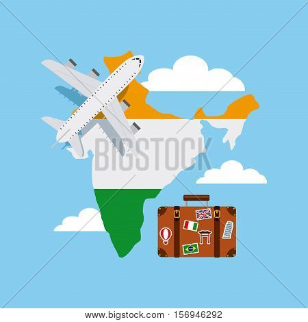 airplane and suitcase over india country map with flag colors over sky background. vector illustration