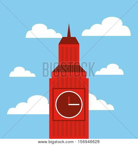 iconic big ben building of london city over sky background. colorful design. vector illustration