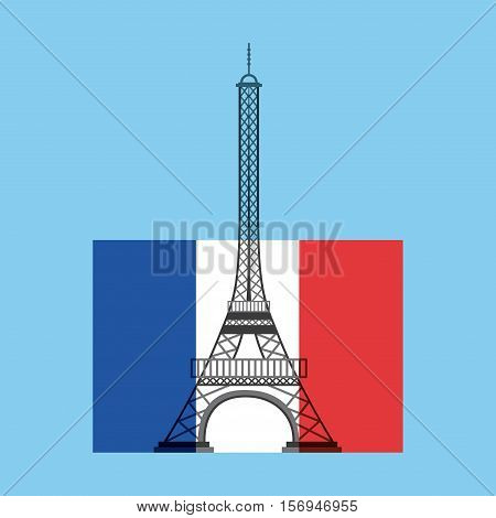 france flag with eiffel tower icon over blue background. colorful design. vector illustration