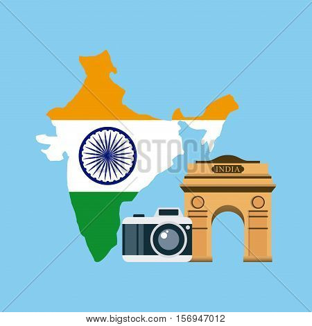 airplane and photographic camera  over india country map with flag colors over blue background. vector illustration