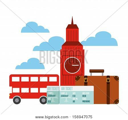 london city icons over sky background. colorful design. vector illustration