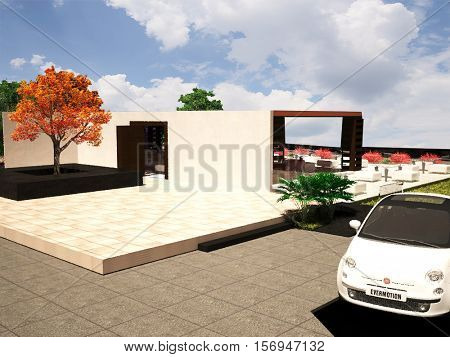 3D RENDER FRONTAL VIEW OF A OPEN SPACE