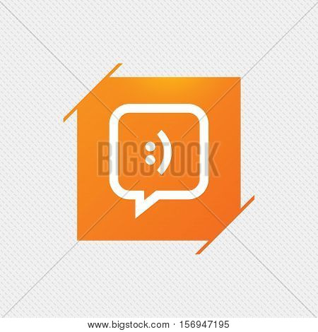 Chat sign icon. Speech bubble with smile symbol. Communication chat bubbles. Orange square label on pattern. Vector