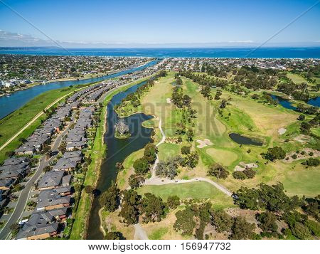 Aerial View Of Bonbeach Suburb, Patterson River, And Golf Club In Melbourne, Australia