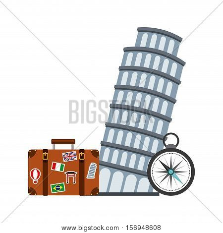 pisa tower iconic building with travel suitcase over white background. colorful design. vector illustration