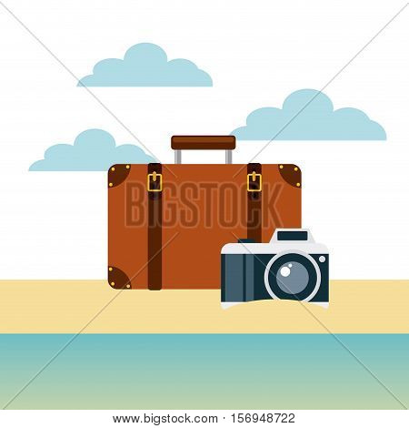 brown briefcase with photographic camera on beach landscape. colorful design. vector illustration