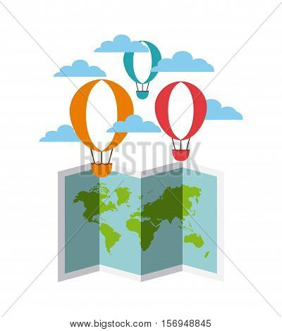 colorful air balloons flying in the sky and world map icon. vector illustration