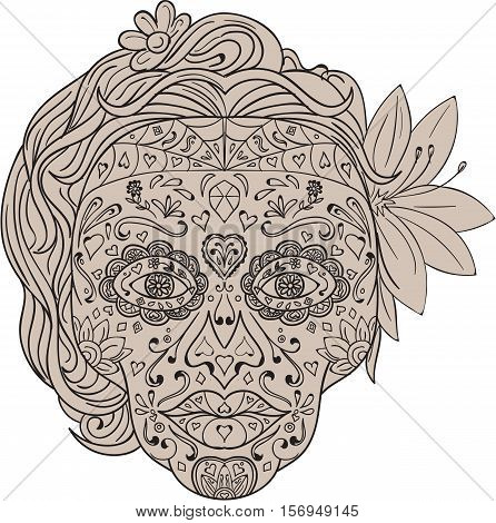 Illustration of a decorated female sugar skull or calavera with hair and flowers viewed from front to commemorate the Day of the Dead on isolated white background done in retro style.