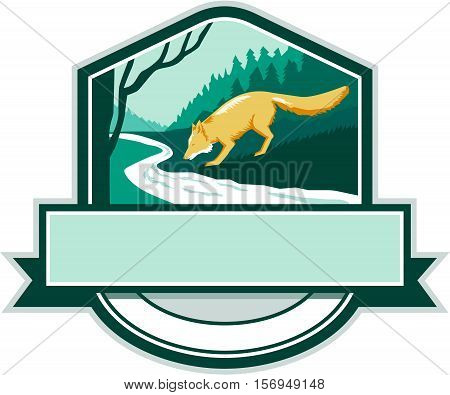 Illustration of a fox drinking from river creek set inside shield crest with woods trees forest in the background done in retro woodcut style.