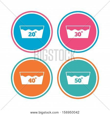 Wash icons. Machine washable at 20, 30, 40 and 50 degrees symbols. Laundry washhouse signs. Colored circle buttons. Vector