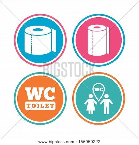 Toilet paper icons. Gents and ladies room signs. Paper towel or kitchen roll. Man and woman symbols. Colored circle buttons. Vector