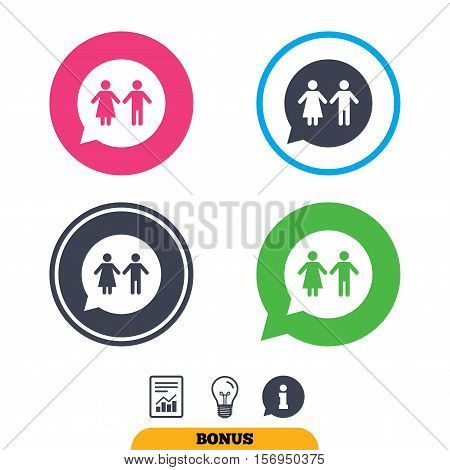 Toilet sign icon. Restroom or lavatory speech bubble symbol. Report document, information sign and light bulb icons. Vector