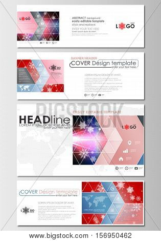 Social media and email headers set, modern banners. Business templates. Cover design template, easy editable, abstract flat layout in popular sizes. Christmas decoration, vector background with shiny snowflakes.