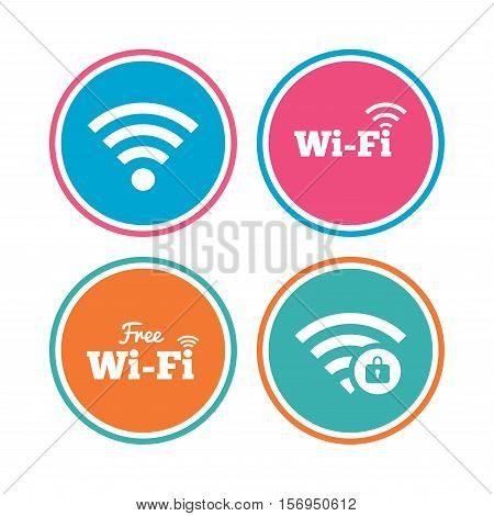 Free Wifi Wireless Network icons. Wi-fi zone locked symbols. Password protected Wi-fi sign. Colored circle buttons. Vector