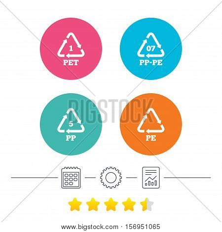 PET 1, PP-pe 07, PP 5 and PE icons. High-density Polyethylene terephthalate sign. Recycling symbol. Calendar, cogwheel and report linear icons. Star vote ranking. Vector