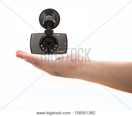 Car DVR Front camera car recorder on hand