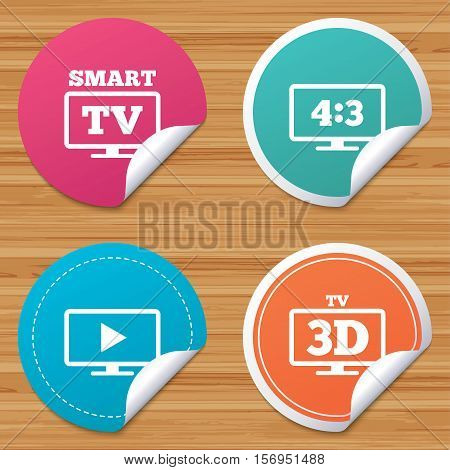 Round stickers or website banners. Smart TV mode icon. Aspect ratio 4:3 widescreen symbol. 3D Television sign. Circle badges with bended corner. Vector