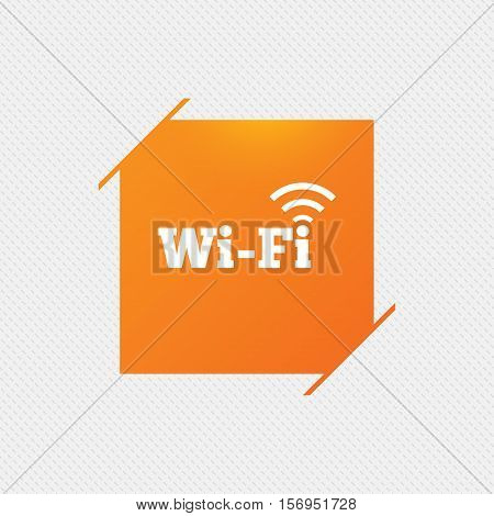 Free wifi sign. Wifi symbol. Wireless Network icon. Wifi zone. Orange square label on pattern. Vector