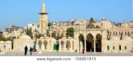 JERUSALEM ISRAEL 26 11 16: Ashrafiyya the western and northern sides of the terrace of temple mount are surrounded by buildings mainly Koranic schools and other religious bodies of the Mameluke period