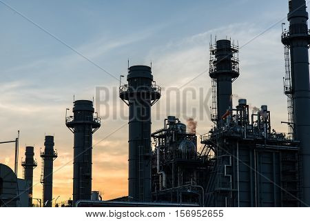 Gas turbine electric power plant with blue sky in Amata industrial estate for support all factory in Amata industrial