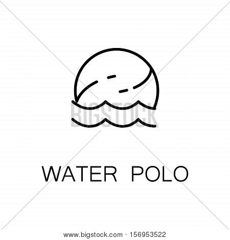 Water polo flat icon. Single high quality outline symbol of sport for web design or mobile app. Thin line signs of water polo for design logo, visit card, etc. Outline pictogram of water polo