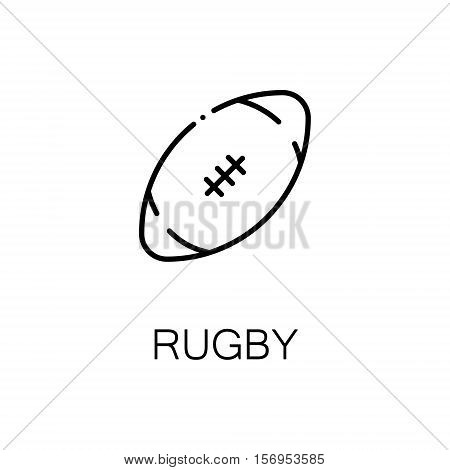 Rugby flat icon. Single high quality outline symbol of sport for web design or mobile app. Thin line signs of rugby for design logo, visit card, etc. Outline pictogram of rugby
