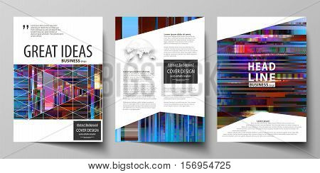 Business templates for brochure, magazine, flyer, annual report. Cover design template, abstract vector layout in A4 size. Glitched background made of colorful pixel mosaic. Digital decay, signal error, television fail. Trendy glitch backdrop.