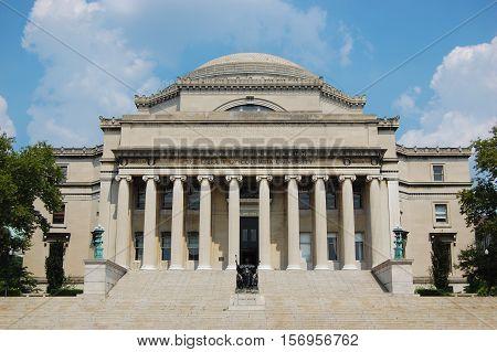 Columbia University Library in New York City, New York, USA.
