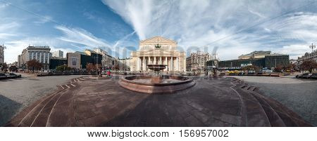 MOSCOW - OCTOBER 25, 2014: Panorama of the Bolshoi Theatre or Big Theatre. It is a historic theatre in Moscow, Russia.