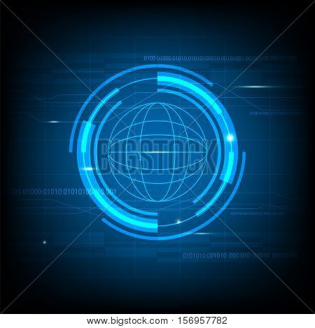 Abstract Blue Circle technology innovation background futuristic circle global concept background template vector