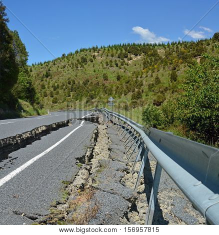 Kaikoura New Zealand - November 15 2016: Massive Cracks have made the roads impassable at the top of the Hunderlee Hills on Highway One North Canterbury after the 7.5 Kaikoura Earthquake.