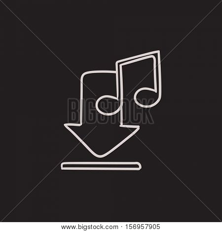 Download music vector sketch icon isolated on background. Hand drawn Download music icon. Download music sketch icon for infographic, website or app.