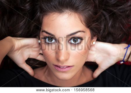 Beautiful Woman Face, Hands Behide Head, Close Up