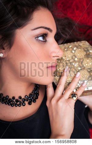 Beautiful Woman Face, Profile, Holding And Old  Box, Close Up