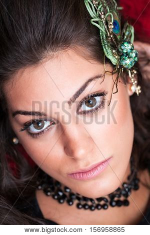 Beautiful Woman Face, Wearing Decorative Pin,  Close Up