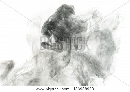 Abstract smoke Weipa pairs. The concept of alternative non-nicotine smoking. Smoke on a white background. E-cigarette. Evaporator.