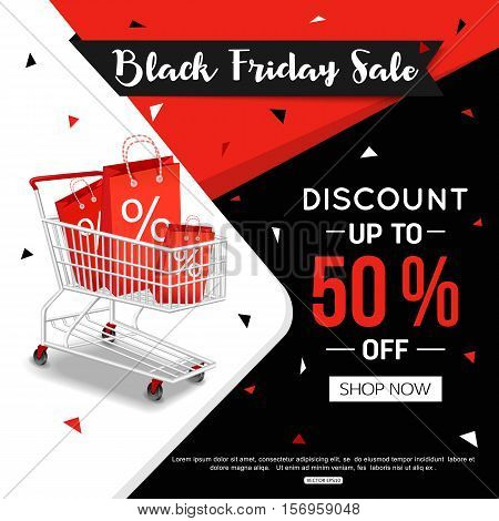 Black Friday Sale Banner for online shop, store. Vector illustration eps 10 format.