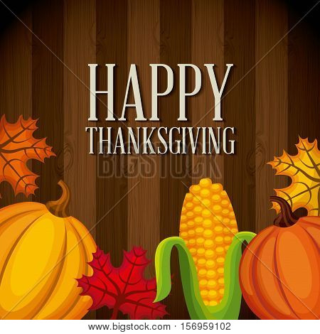 happy thanksgiving card with autumn icons over wooden background. colorful design. vector illustration