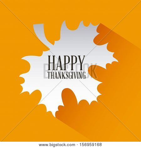 happy thanksgiving card in autumn dry leaf over orange background. colorful design. vector illustration