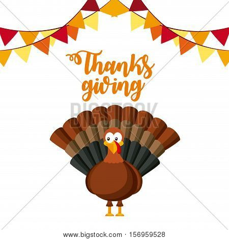 happy thanksgiving card with turkey cartoon and pennant. colorful design. vector illustration