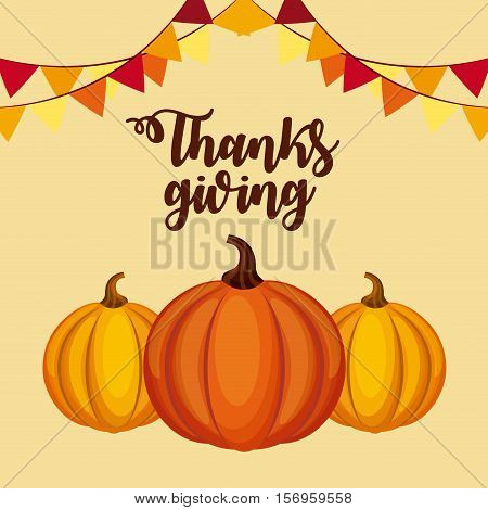happy thanksgiving card with pumpkin icons over yellow background. colorful design. vector illustration