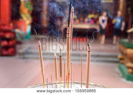 Incense sticks inside Guan Di Temple also known as Kuan Ti Temple in Chinatown. Kuala Lumpur. Malaysia