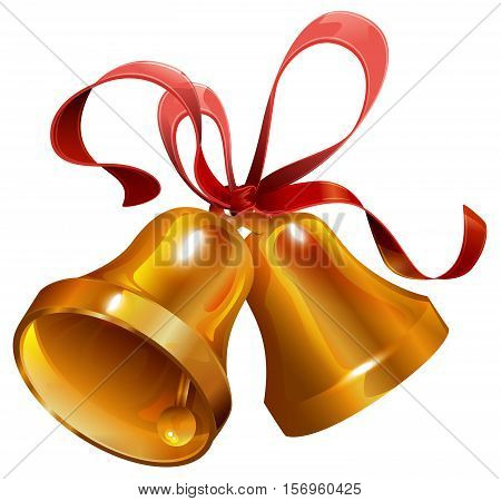 Two gold Christmas jingle bell with red ribbon. Isolated on white vector illustration