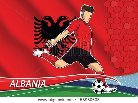 Vector illustration of football player shooting on goal. Soccer team player in uniform with state national flag of albania