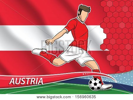 Vector illustration of football player shooting on goal. Soccer team player in uniform with state national flag of Austria