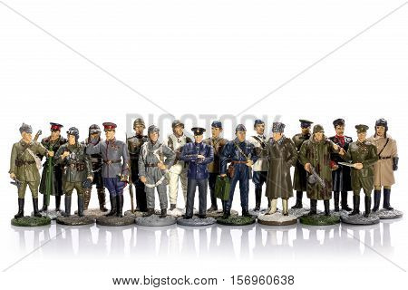 Tin soldiers of the Second World War on a white background